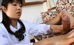 Anna Kuramoto in uniform gets cum on hands from fine handjob