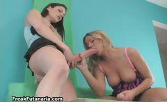 Big tits blonde babe loves sucking a big