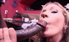 Dirty blonde eats and fucks monster black dick