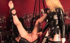 Mistress punishing pathetic suspended sub