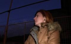 Czech redhead banged in car in public