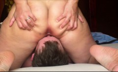 Hot BBW sitting on his face and he licks her