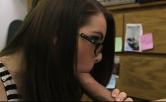 Slut in glasses pawns her pussy and fucked by nasty pawn guy