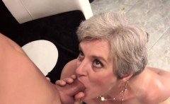 Gray Granny Gets Spooned
