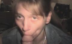 Blonde Crack Whore In A Jean Vest Sucking Dick POV