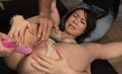 Oriental darling gets wet facial after anal team fuck
