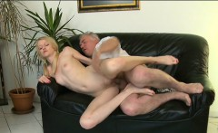 Lovely young babe gives passionate ride to an old dude