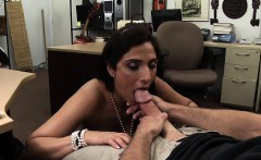Lovely long legged MILF blows cock