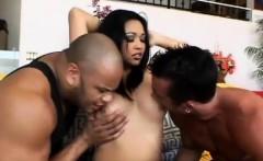 Busty Asian bitch milks two cocks dry