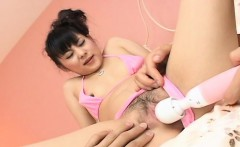 Asian honey getting her wet pussy pie toy fucked
