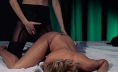 Huge dildo in their hands trying first lesbians coitus