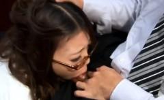 Perv makes Japanese secretary work hard for his dick