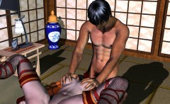 3D Sushi Waitress Getting Her Pussy Fingered