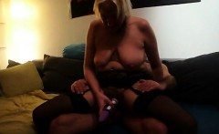 Busty blonde housewife in black lingerie has sex with a hun