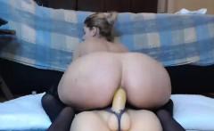 Hot Babe Rides Dildo on Webcam