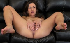 Striking brunette Alyssa Reece works out her hungry slit on the couch