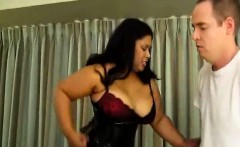 Chubby ebony Delilah Black knees him in the nuts while he's