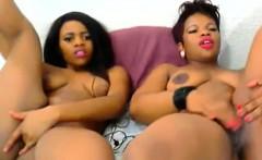 Tw sexy ebony tarts enjoy playing with their pussies side b