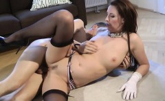 Stockinged brit pussypounded on the floor