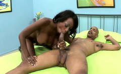 Voluptuous chocolate lady passionately sucks and fucks a black stick