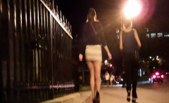Brunette in micro-skirt would go to nightclub