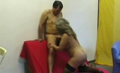 Busty granny rides his wanker, gives him head and goes doggy style