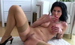 MILF masturbating in stockings