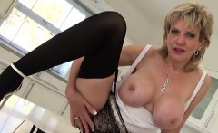 Cheating british mature lady sonia flashes her big boobs