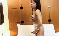 Big boobs ladyboy hottie jerks off her nice sized cock