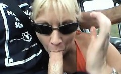 Milf that is blonde sucks on hard penis of her husband whil