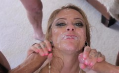 Deepthroating slut facial