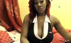 busty ebony babe tries out her webcam and plays with her bo