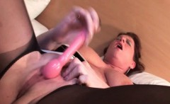 Mature redhead vibing clit and sucking dick