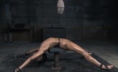 Black skank punished with cane and toy