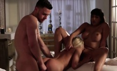 great threesome after massage with two busty hoes