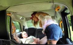 Tattooed huge tits cab driver fucks in public