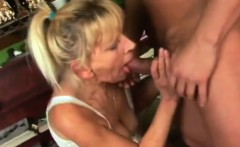 Blonde granny sucks and fucks a big hard cock