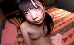 skinny little asian cutie comes out of the shower to get fi