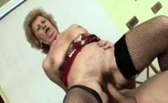 Busty granny fingers pussy before having the best sex ever
