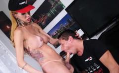 TransBella - Busty Latina shemale beauty fucks a mature man