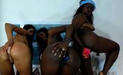 3 chocolate girls with dildo