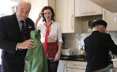 Stockinged british milf fucked by senior guys