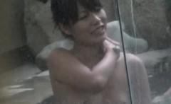 Asian lesbians bathing