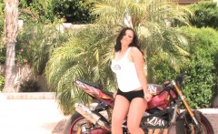 Aria Giovanni gets naked on sport bike in the sun