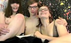 Geek Boy Fucks Two Women