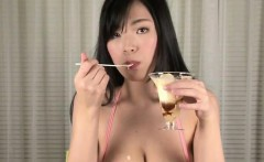 big tits asian plays with icecream melting