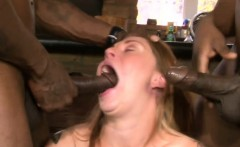 nasty brunette babe anal pounded by huge black cocks