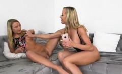 busty mom brandi love pleasuring teen slut's pussy on sofa