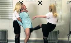uniformed mistresses ambush sub with cbt