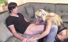 German MILF Step-Mom in Stockings Seduce Young Boy to Fuck
